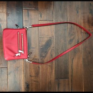Red cross body purse